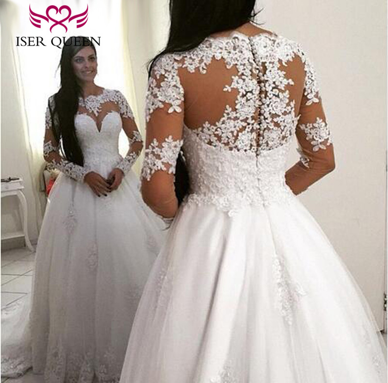 Full Sleeves Illusion Plus Size White Vintage Wedding Dress New Embroidery Appliques Court Train Simple Modern Wedding Dresses