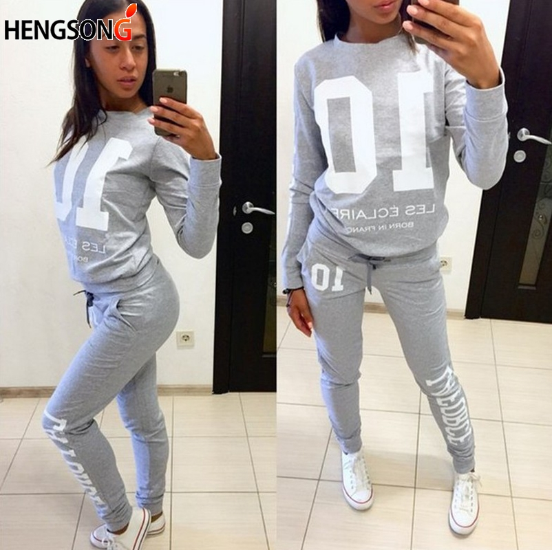 Autumn Women Running Set Sportswear Letters Hoodies Sweatpant 2 Pieces Sets Women Tracksuits Fitness Sports Set Suit