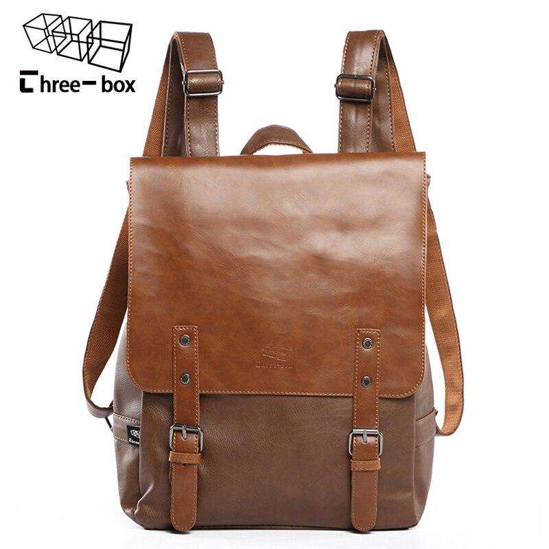 Three-box Brand Leather Men Bag Casual Men School Backpack Fashion Laptop Daypacks College Vintage Travel Backpacks Male Mochila