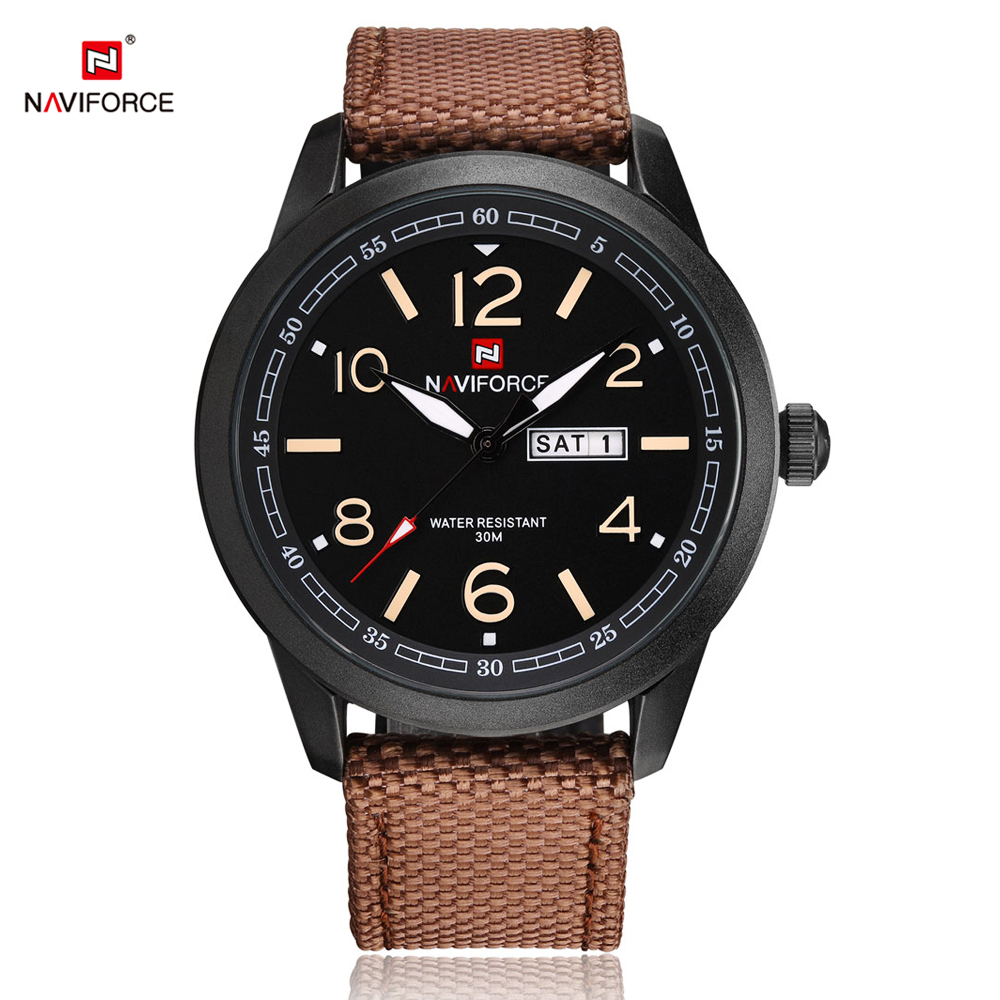 NAVIFORCE Men Sport Watch Fashion Casual Watches Men Wristwatch Week Man Canvas Watch Waterproof Male Clock Relogio Masculino sinobi sport quartz watch for men male fashion casual rubber watchband clock watch man s wristwatch page 9