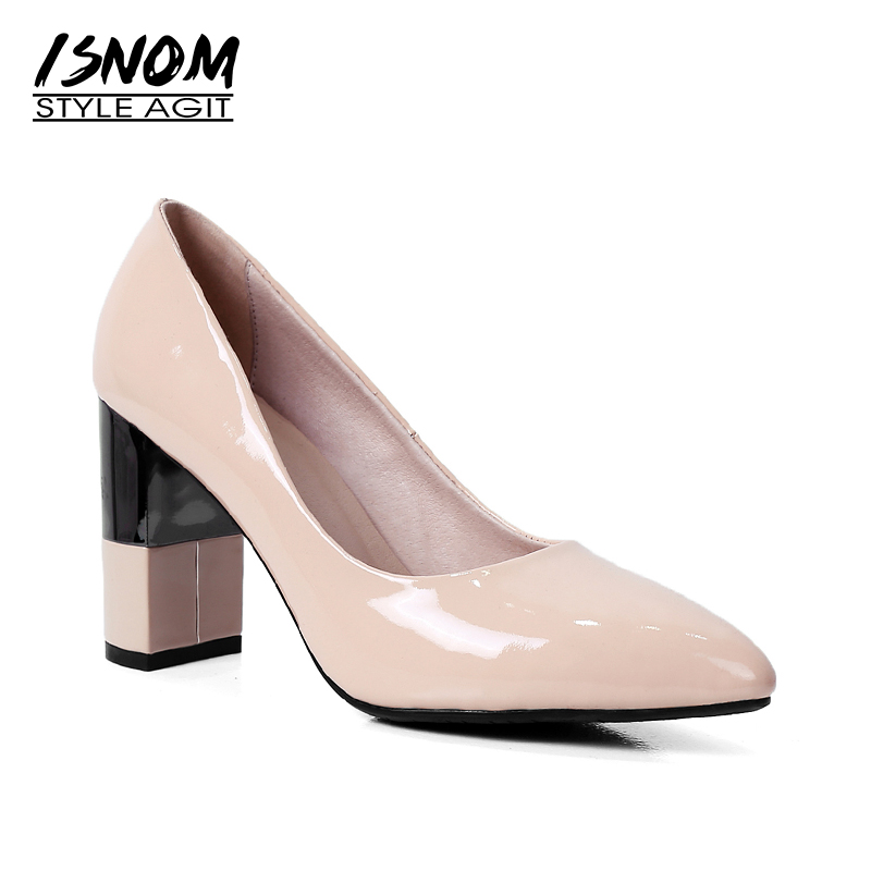 ISNOM New Genuine Leather Women Pumps Stitching Square Heels Pointed Toe Footwear Spring Fashion Brand High Heels Ladies Shoes new 2017 spring summer women shoes pointed toe high quality brand fashion womens flats ladies plus size 41 sweet flock t179