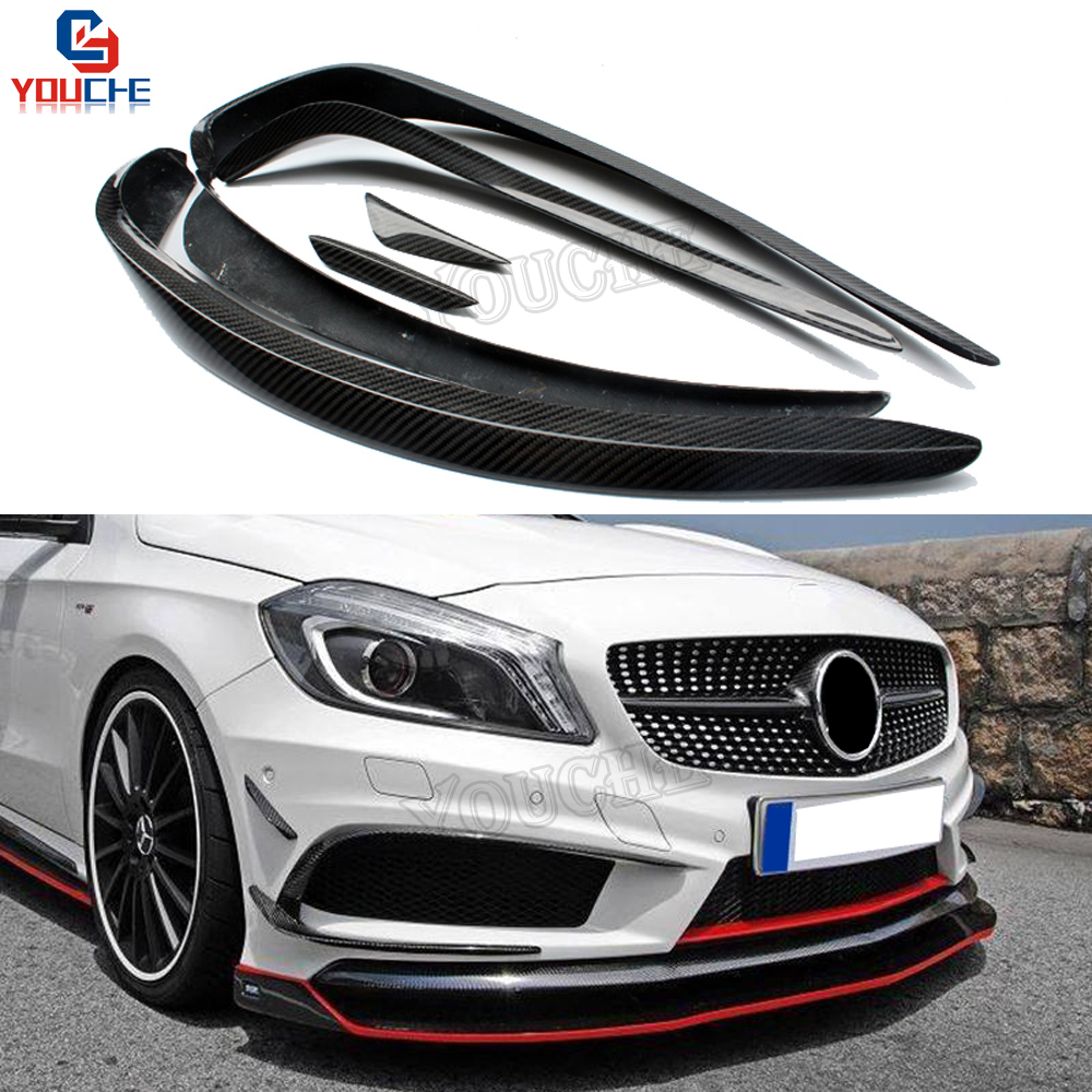 W176 Front Bumper Carbon air Canards Splitter For Mercedes W176 A Class A160 A180 <font><b>A200</b></font> A250 A45 AMG Sport Edition 2013 - 2015 image