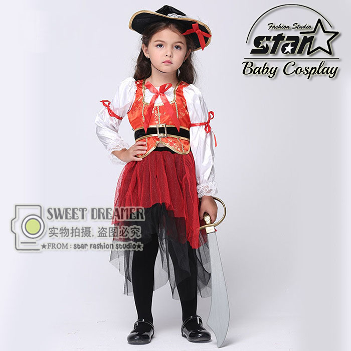 Halloween Children Kids Caribbean Pirate Costume Dress With Hat Carnival Costumes Cosplay Fancy Fantasia Infantil Clothing kids halloween costumes cosplay caribbean pirates costumes captain jack children role playing children party clothes