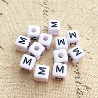 Free Shipping 10 10MM Plastic Square Letter M Printing Jewelry Beads 550PCS Lot White Cube Alphabet