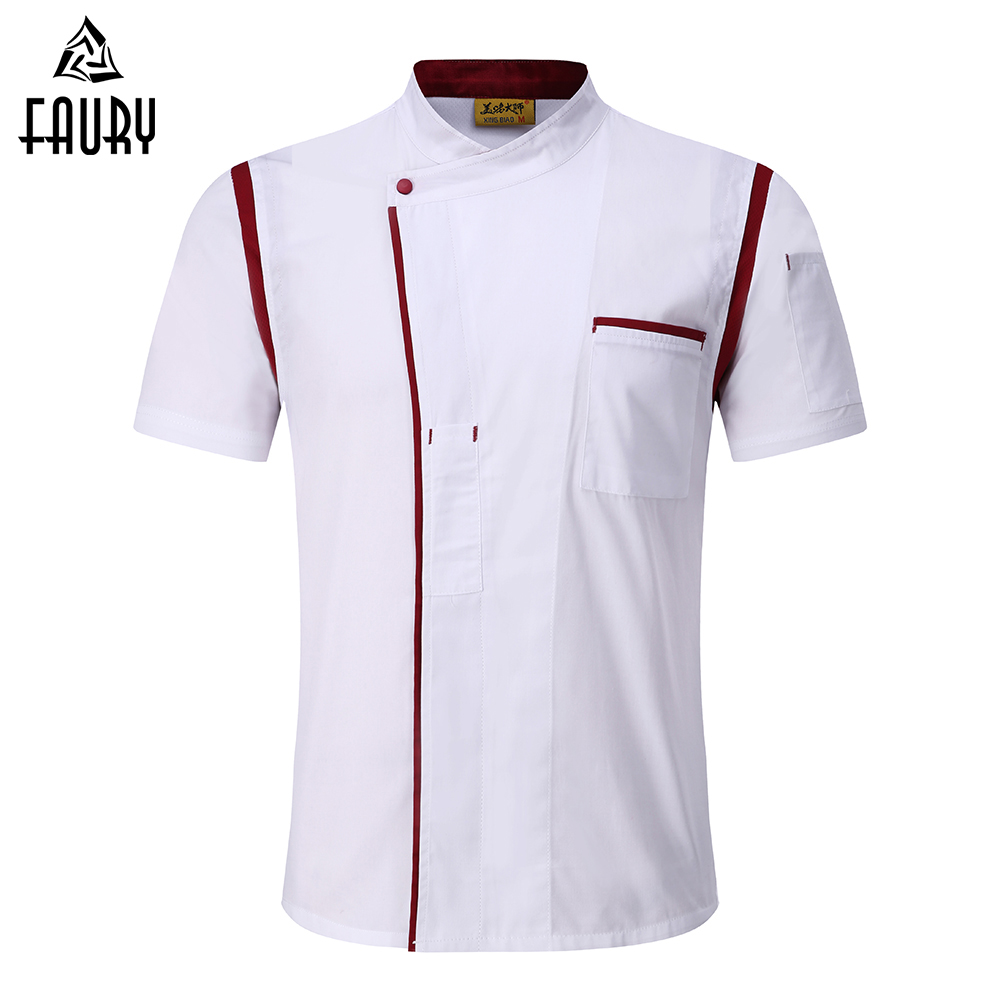 4 Colors Wholesale Unisex Kitchen Bakery Chef Uniform Short Sleeve Mesh Breathable Double Breasted Workwear Chef Jackets & Apron