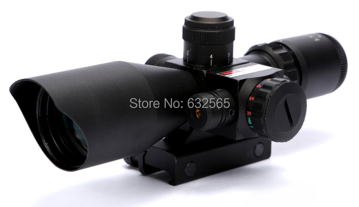 ФОТО Free Shipping Outdoor Hunting Accessories 2.5-10X40 Rifle Scope with Red Laser