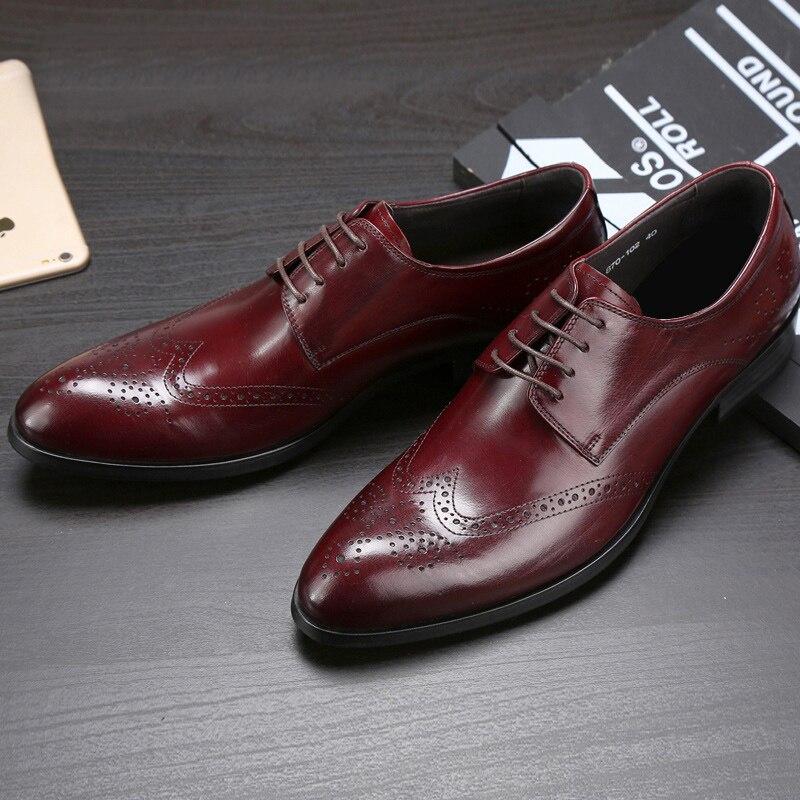 Hombres Flats Hombre Nupcial Hj78 Vintage Punta Brogue Formal Tallado Oxfords marrón Redonda Auténtico Británico Negro Partido Cuero Tip Zapatos Wing aAxq4A6
