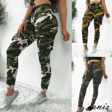 Womens Camouflage Cargo Trousers Casual Drawstring Pants High Waist Military Army Skinny Long Pants цена