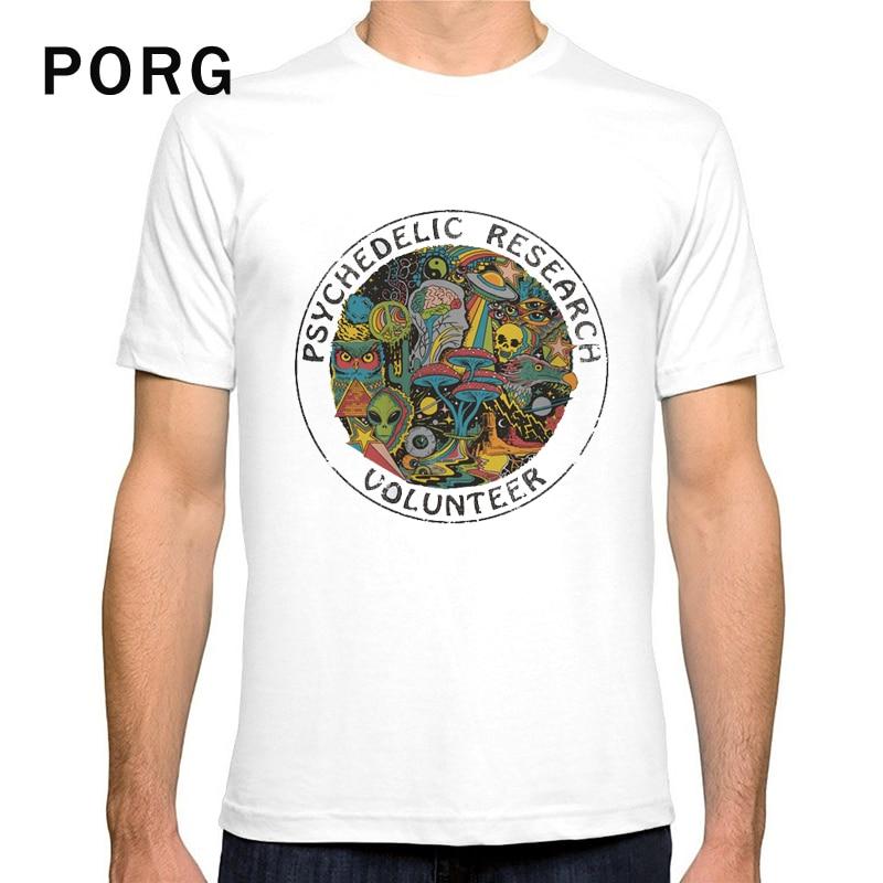 Psychedelic Research Volunteer T Shirt Casual Fashion O-neck Print Tshirt White Tee Streetwear Harajuku Short Sleeve Men T Shirt