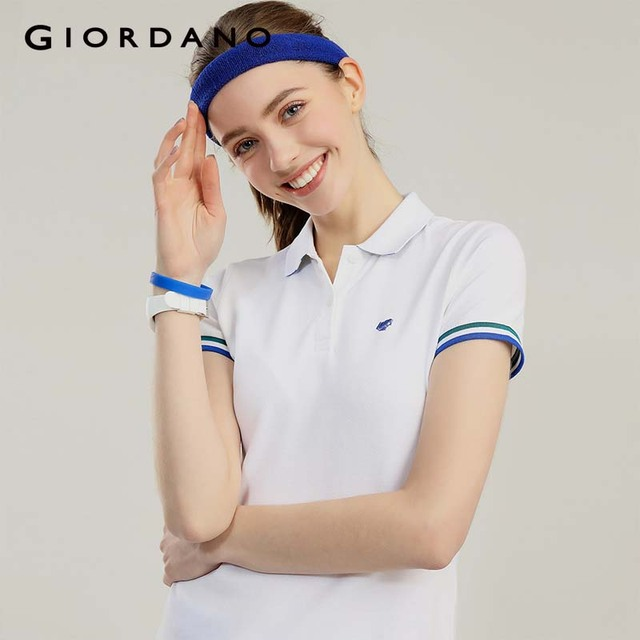 d6453db48 Giordano Women Polo Shirt Women Frog Embroidery Short Sleeves Polos  Color-blocking Polos Mujer Sporty Slim Brand Polo Femme