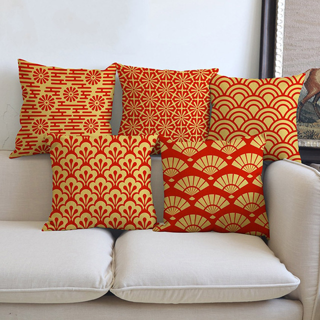 Charmant Orange Yellow Geometrics Floral Sofa Throw Pillows Cases Square Fashion  Flower Dragonfly Print Housse De Coussin