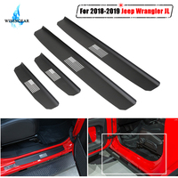 For Jeep Wrangler JL 4 Door Scuff Plate Protector Guard Door Sill Plate Entry Guard Pedal Trim Cover Protector Sticker 2018 2019