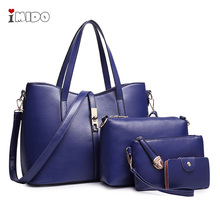 Womens Leather Handbag Shoulder Lady Cross Body Bags 4 pcs sets Royal Blue Fashion Luxury Office Top handle Tote Bag for women