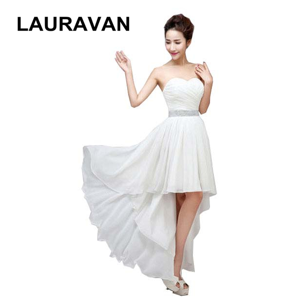 women clothings summer ivory chiffon   dress     bridesmaids     dress   high low gowns/formal   dresses   for wedding guests free shipping