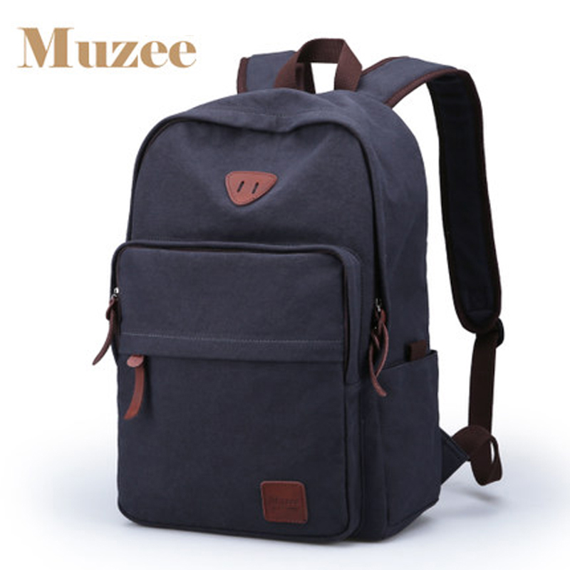 Muzee Hot Sale 2017 New Fashion Arcuate Leisure Men s Backpack Zipper Solid Canvas Backpack School