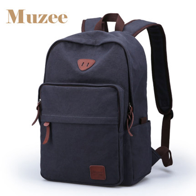 Muzee Hot Sale 2017 New Fashion Arcuate Leisure Men's Backpack Zipper Solid Canvas Backpack School Bag Travel Bag ME_0528