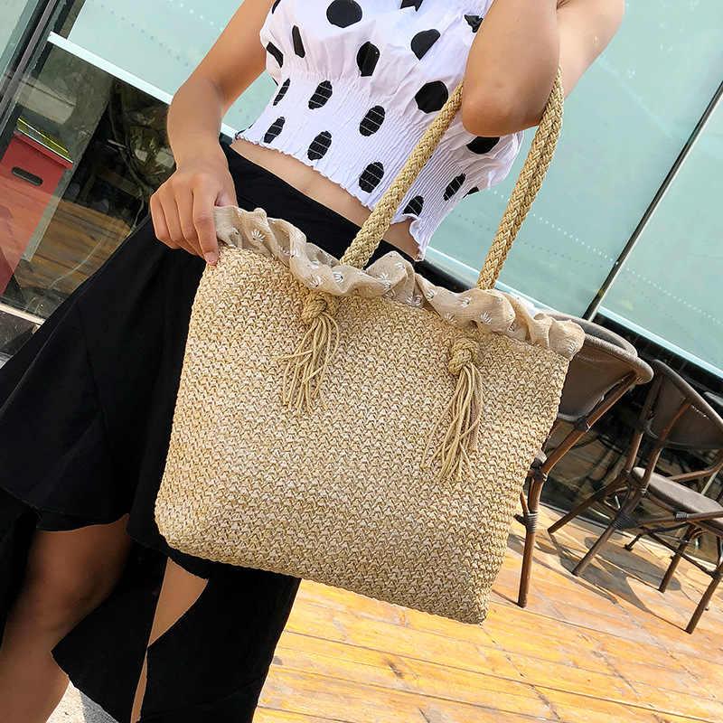 Casuais Mulheres Bolsa de Ombro Fêmea Sacos de Palha Praia Grande Sacola de Viagem Senhoras Crossbody Sacos Para As Mulheres Shopping Bag Bolsa W426
