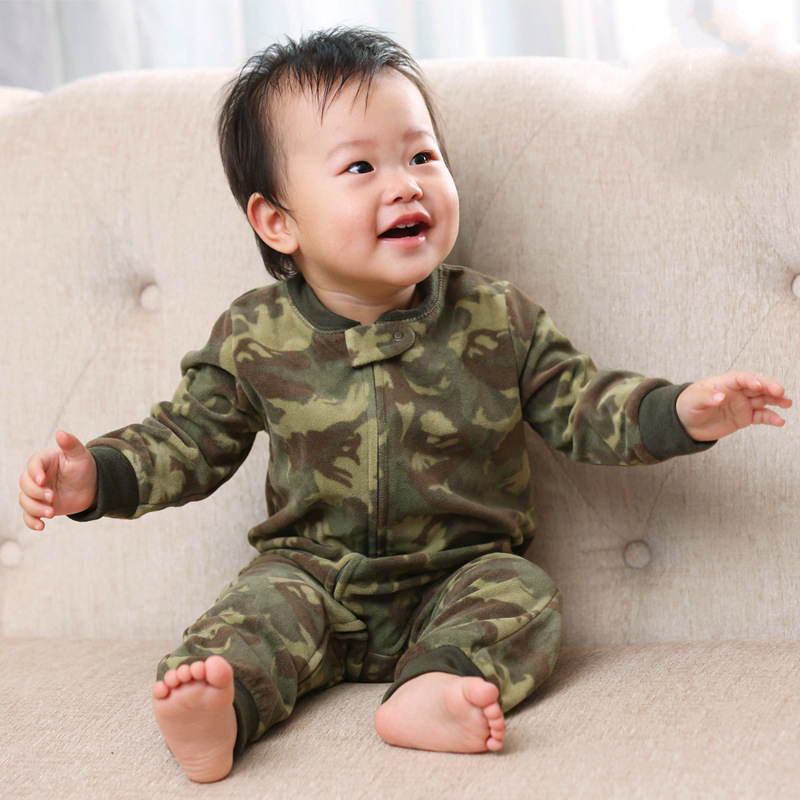 Infants baby clothes fleece   romper   camouflage anti-static boys pajamas winter warm clothes 6M -24M toddler bebe girls jumpsuit