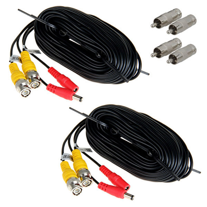 LHLL-2*15m BNC Video Power Siamese Cable for Analog AHD CVI CCTV Surveillance Camera DVR Kit