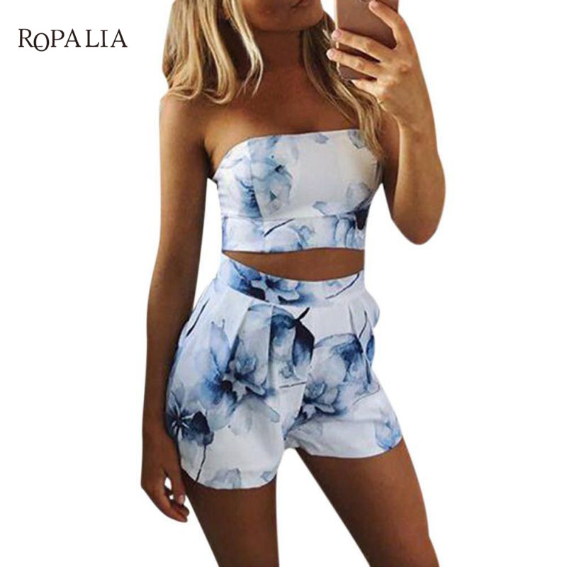 ROPALIA Sexy Women Slash Neck Sleeveless Print Slim 2 Pieces Top T-shirt And Shorts Summer Sets