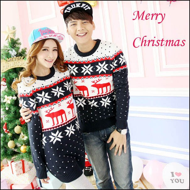 fe8fe93611ca Couple Christmas Sweaters Set With Reindeer For Men Women Lovers Couple  Matching Christmas Jumper Sweaters Deer Snow Flake