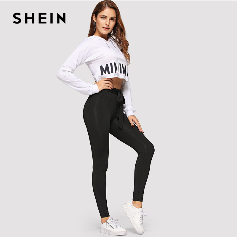 SHEIN Black Tie Waist Drawstring Solid Skinny Leggings Women 2019 Spring Active Wear Leisure Casual Workout Leggings 4