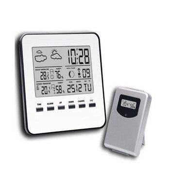 ワイヤレスLCDデジタルホーム温度計湿度計シルバーウェザーステーション温度湿度計天気予報目覚まし時計デジタル時計