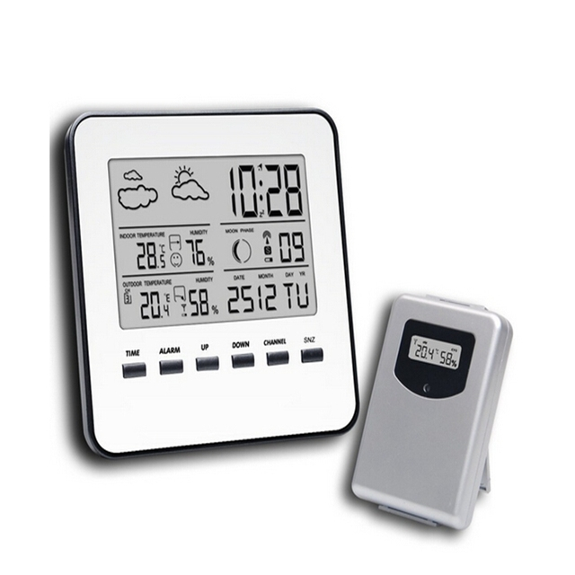 Wireless Lcd Digital Home Thermometer Hygrometer Silver Weather Station Temperature Humidity Meter Forecast Alarm Clock
