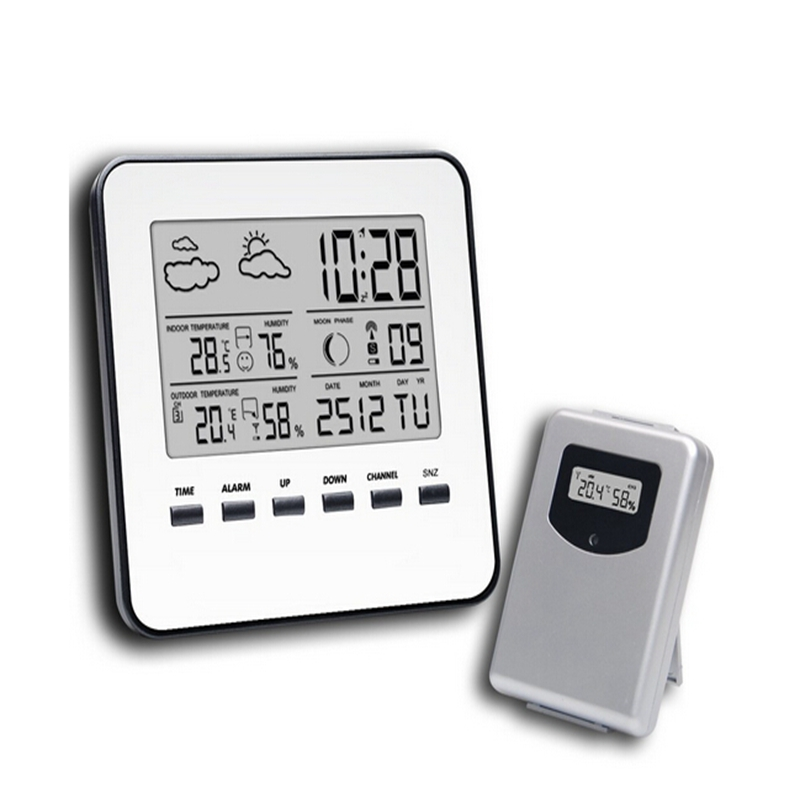 Wireless LCD Digital Home Thermometer Hygrometer Silver Weather Station <font><b>Temperature</b></font> Humidity Meter Weather Forecast Alarm Clock