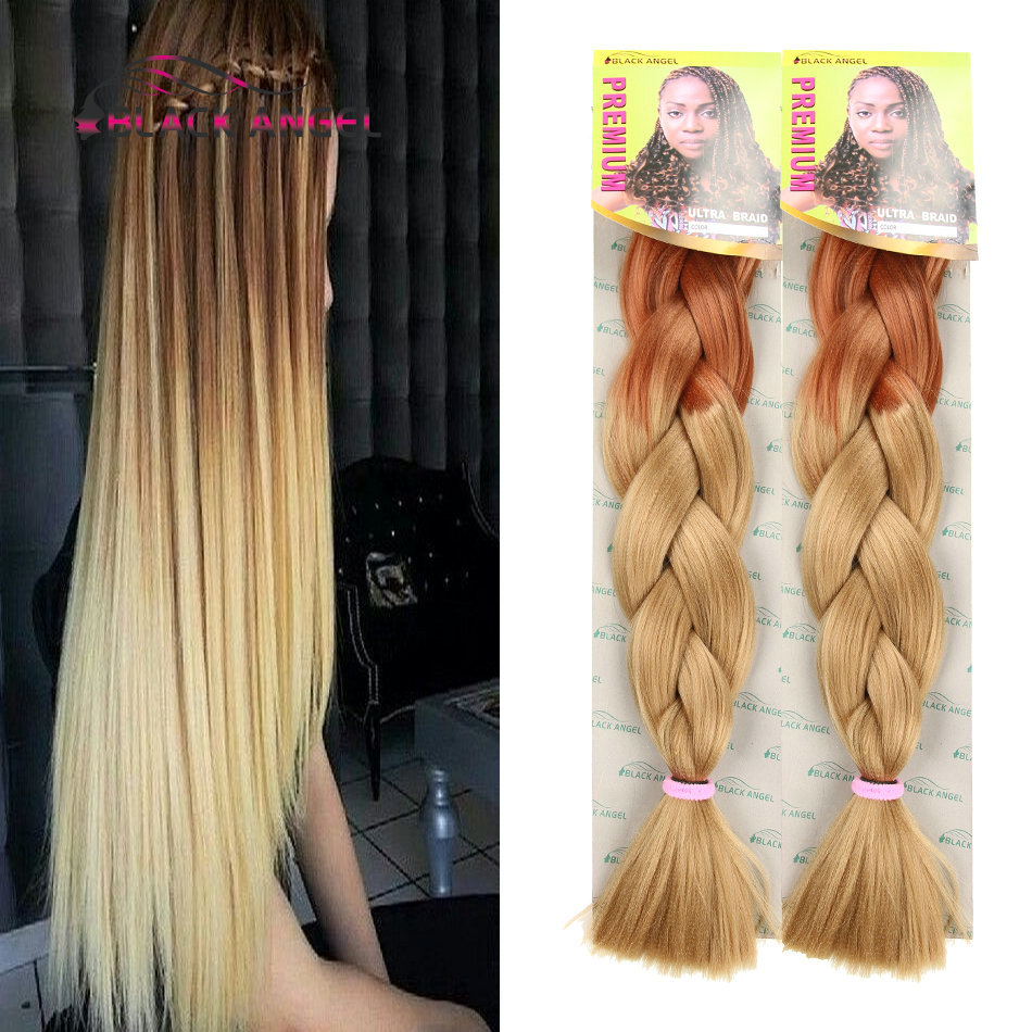 Two Toned Color Light Brown Dark Blonde Ombre Braiding Hair 24inches