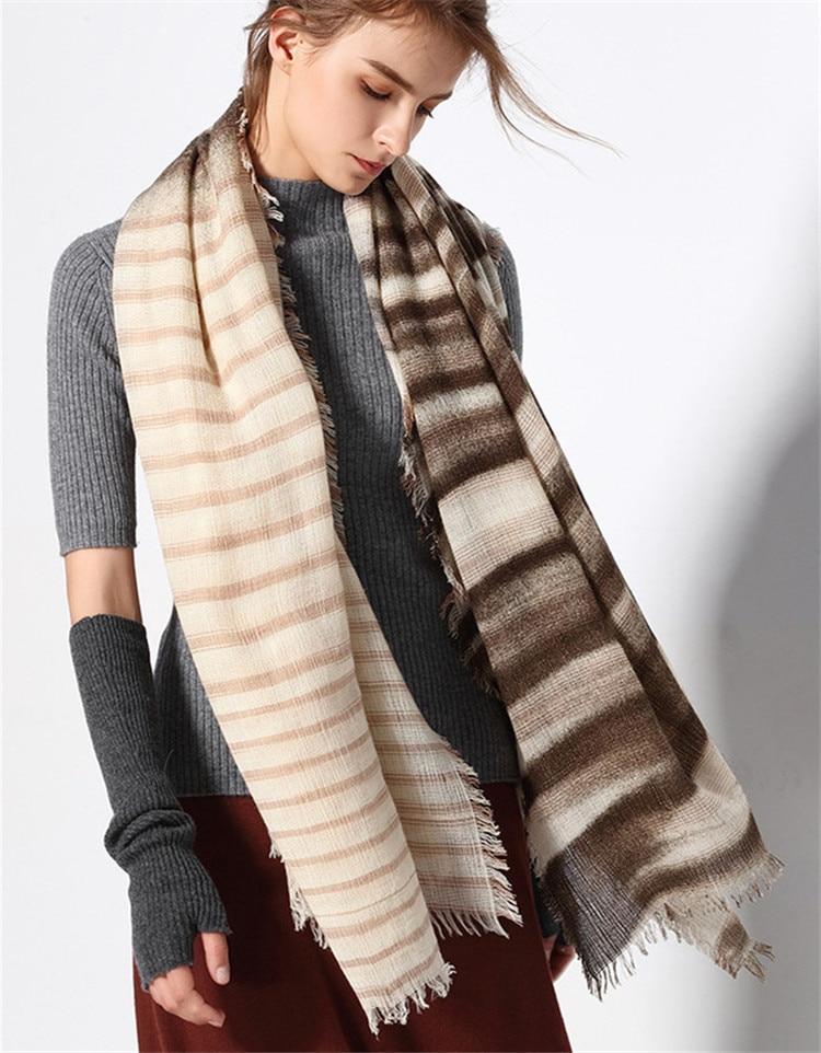 new arrival 100%lambswool women fashion striped scarfs shawl pashmina 125x150cm black white 2color