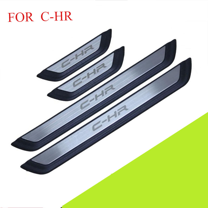 цена на FIT For C-HR 2016 2017 2018 Door Sill Scuff Plate Welcome Pedal Stainless Steel Car Styling Accessories FOR CHR