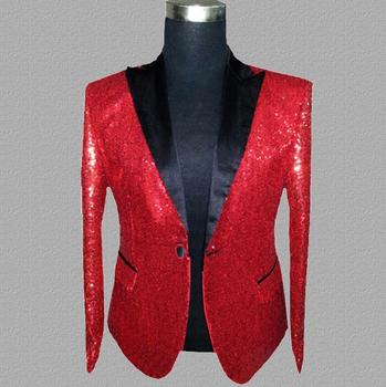 red sequins blazer men suits designs jacket mens stage costumes for singers clothes dance star style dress rock masculino homme