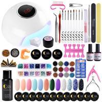 24W UV Lamp For Manicure Pedicure Nail Extension Kit Manicure Set UV Gel Nail Set Nail Art Kits For Nails Set Tools UV Gel Kit