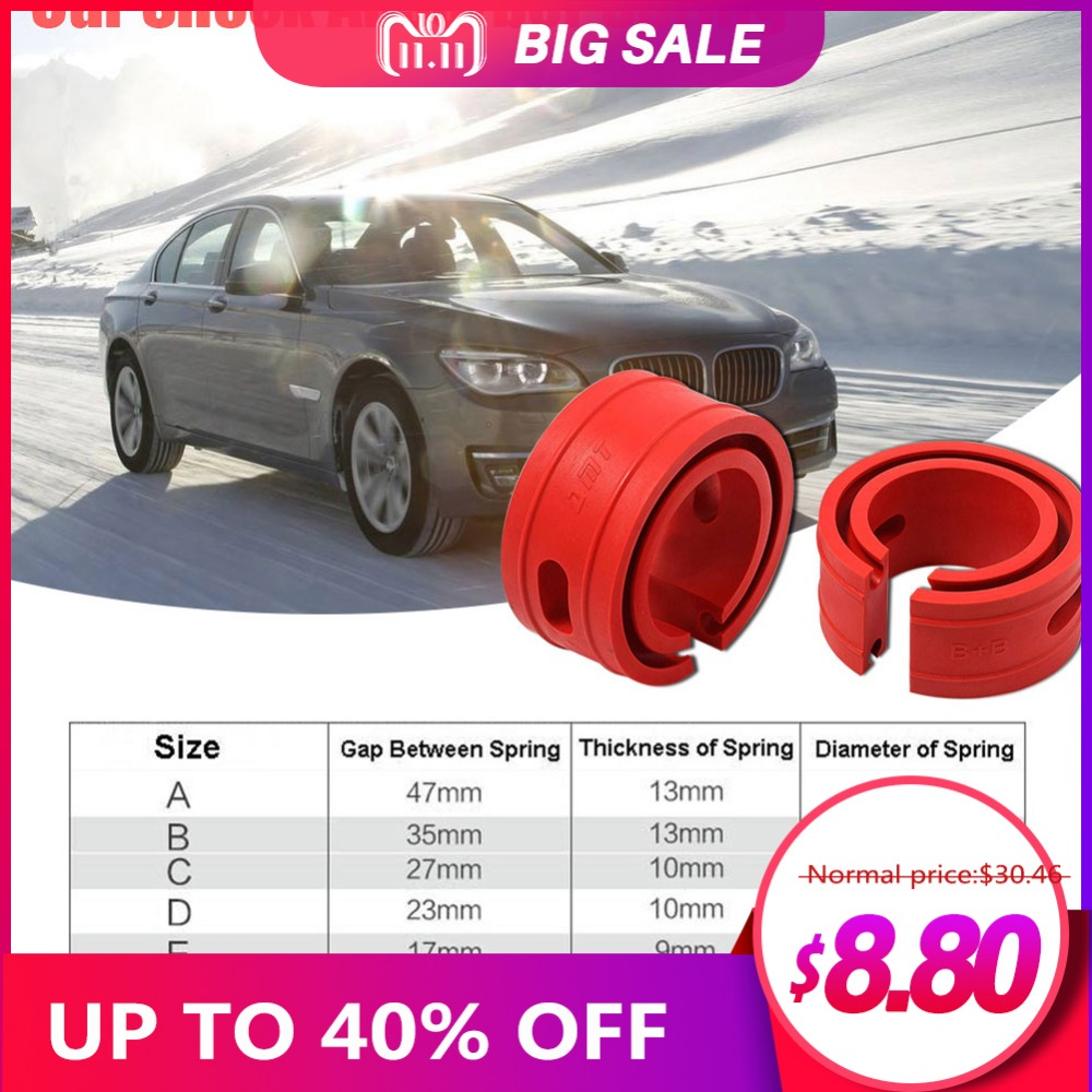 2PC Red Color Car Shock Absorber Spring Bumper Power Auto Buffers A/B/C/D/E/ Type Cushion Universal For Most Vehicles