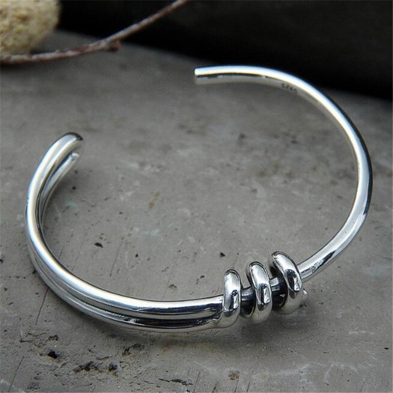 925 Sterling Silver Knot Cuff Bracelets Bangles Fashion Open Bangle Women Bangles Feminin Love Valentine Day Gift 26.40g цена