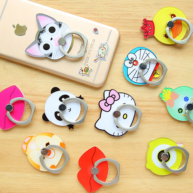 2016 New Luxury 360 Degree Cartoon Finger Ring Mobile Phone Smartphone Stand Holder For iPhone Samsung Huawei Xiaomi HTC Sony LG