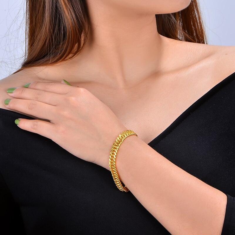 CAIMAO 24 K Pure 999 pulsera de eslabones de oro diseño genuino para hombre Boutique regalo de compromiso de boda fino fiesta clásica de moda - 5
