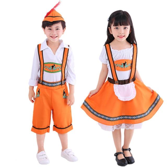 a41bd8567 US $9.88 21% OFF| S XL Kids Boy Girls Oktoberfest Beer Festival October  Fancy Dress Heidi German Children Maid Costume Bavarian Dirndl Dress on ...