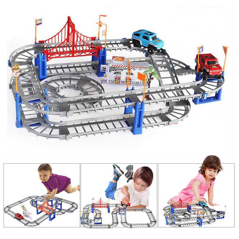2017 New creative DIY track car assembly electric speed track puzzle car gift kids childrens toys