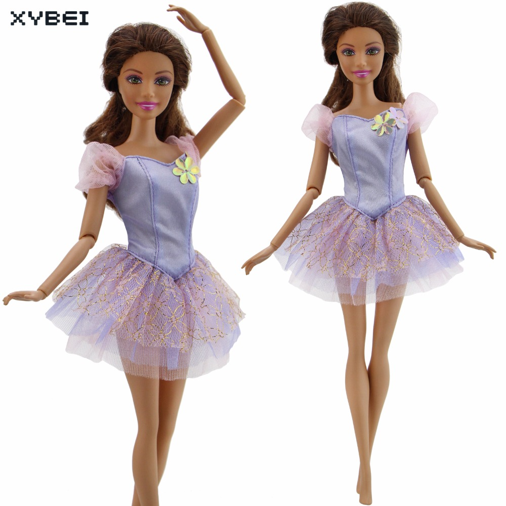 Fashion Lace Dress Wedding Party Mini Gown Purple Flower Short Skirt Clothes For Barbie Doll Dollhouse Accessories Kids Gift Toy new 20 pcs set handmade party 12 clothes fashion mixed style dress 8 pair accessories shoes for barbie doll best gift girl toy
