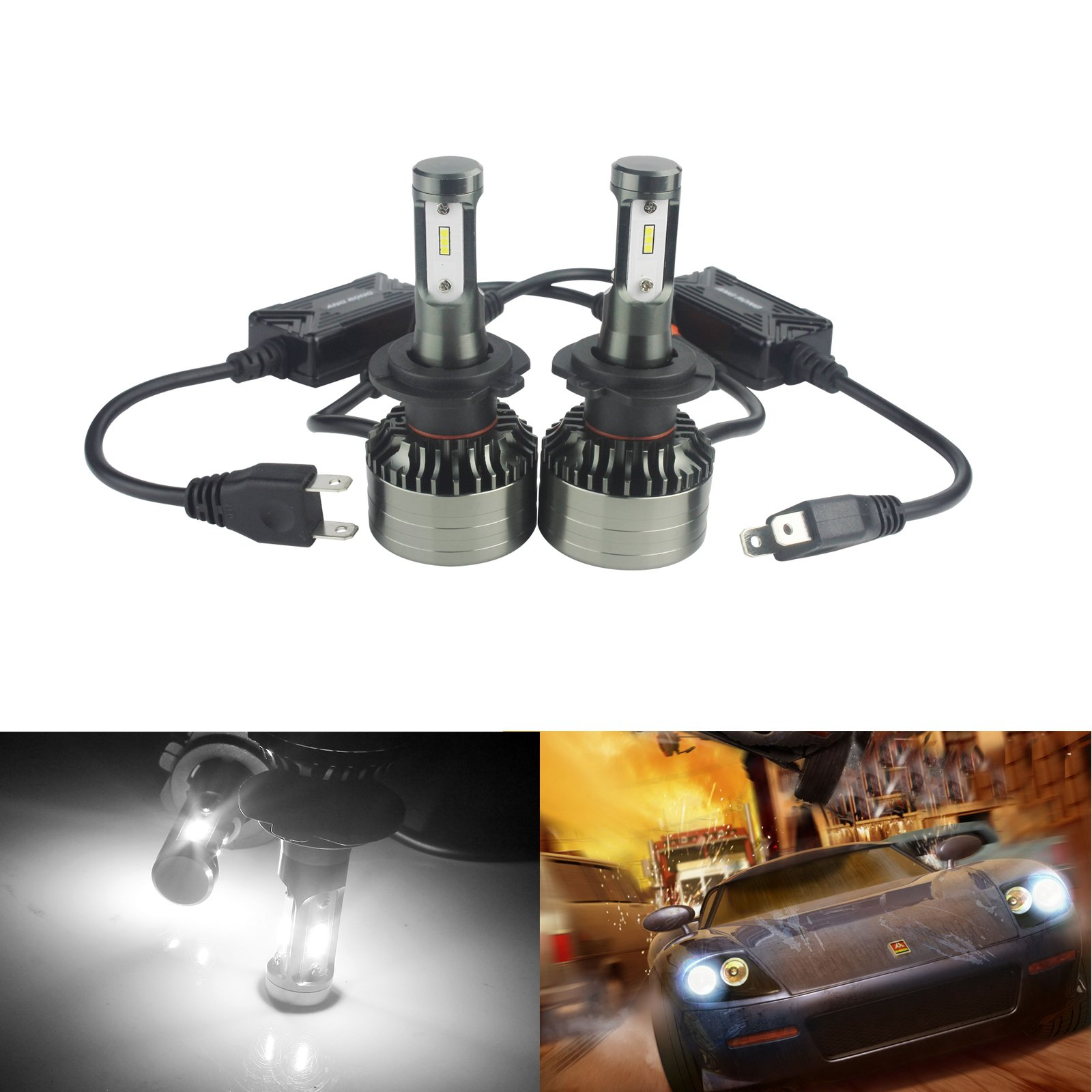 ANGRONG 2x H7 LED 72 W CSP puces 9000LM KIT phares ampoules DRL 6500 K xénon blanc