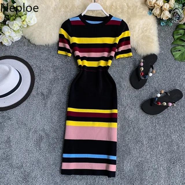 Neploe Contrast Color Striped Women Dress Knitted O-Neck Short Sleeve Vestidos Sexy Fashion High Waist Bodycon Dresses 44472