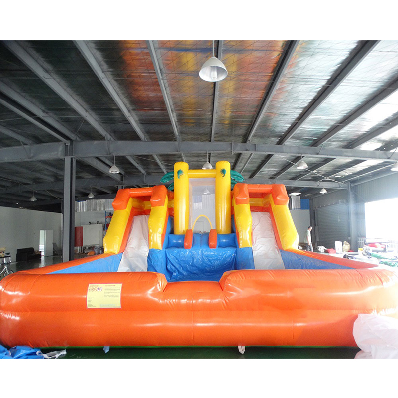 Outdoor Giant PVC Inflatable Water Slide with swimming Pool for Kids