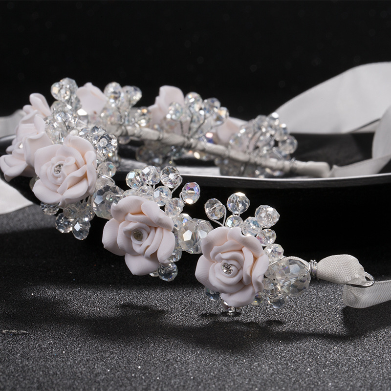 new red white flower headbands bridal head accessories wedding crystal bride wreath hair jewellery hair sticks