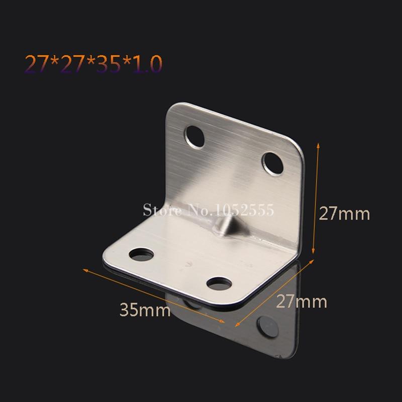 10pcs 27*27*35*1mm stainless steel angle Corner bracket L shape Furniture Corner Brackets shelf support+self-tapping screws K19