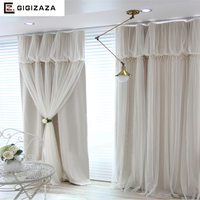 Torino Tassels Lanterns Head Top Curtain Ivory Color Voile Sheer Black Out Fabric Bedroom Customize Curtain