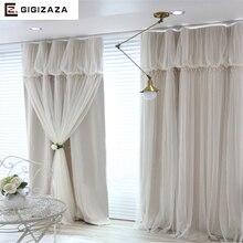 Torino borlas linternas head top cortina de tela de cortina de color marfil + voile sheer negro de tela dormitorio del personalizar cortina de la ventana