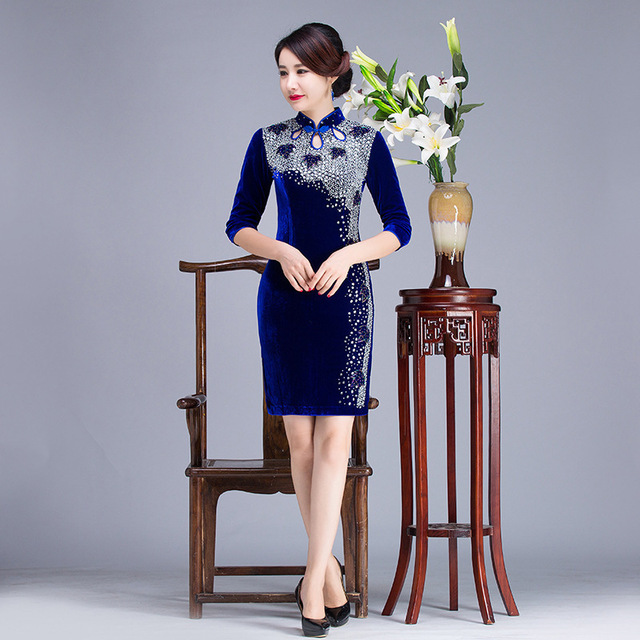 Traditional Chinese Dress Cheongsam Qipao Long Cheongsams Blue Oriental Style Dresses Velvet Wedding Gowns Bride Traditions