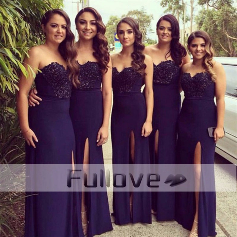 Top Quality Navy Blue Mermaid   Bridesmaid     Dresses   Long 2019 Appliques Sweetheart Side Slit Wedding Party Gowns Vestido De Festa